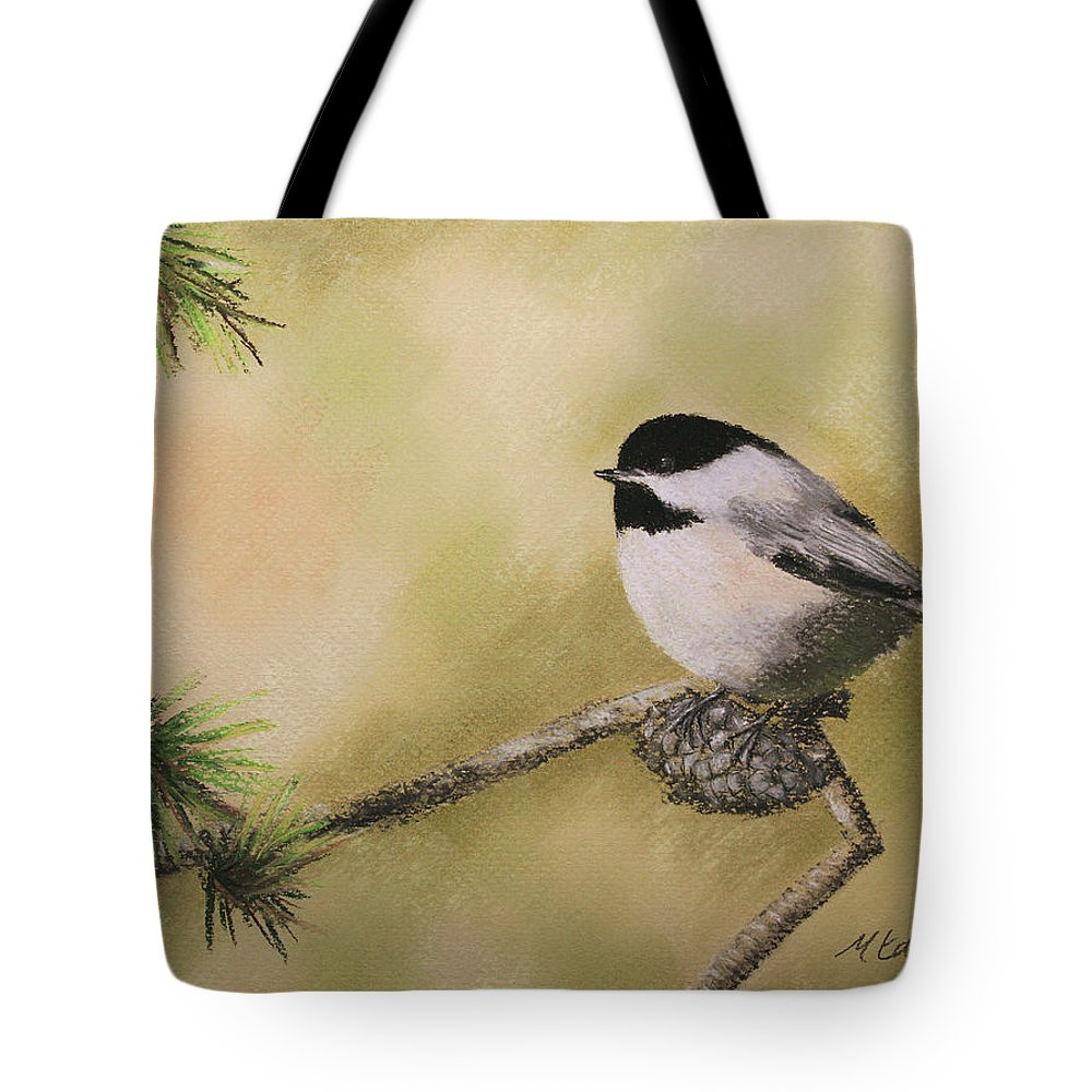 Chickadee Tote Bag featuring the pastel My Little Chickadee by Marna Edwards Flavell