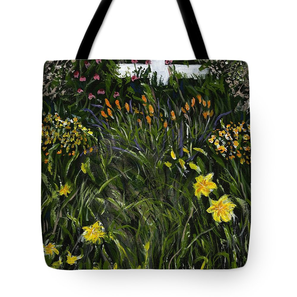 Flowers Tote Bag featuring the painting My Neighbor's Garden by Alice Faber