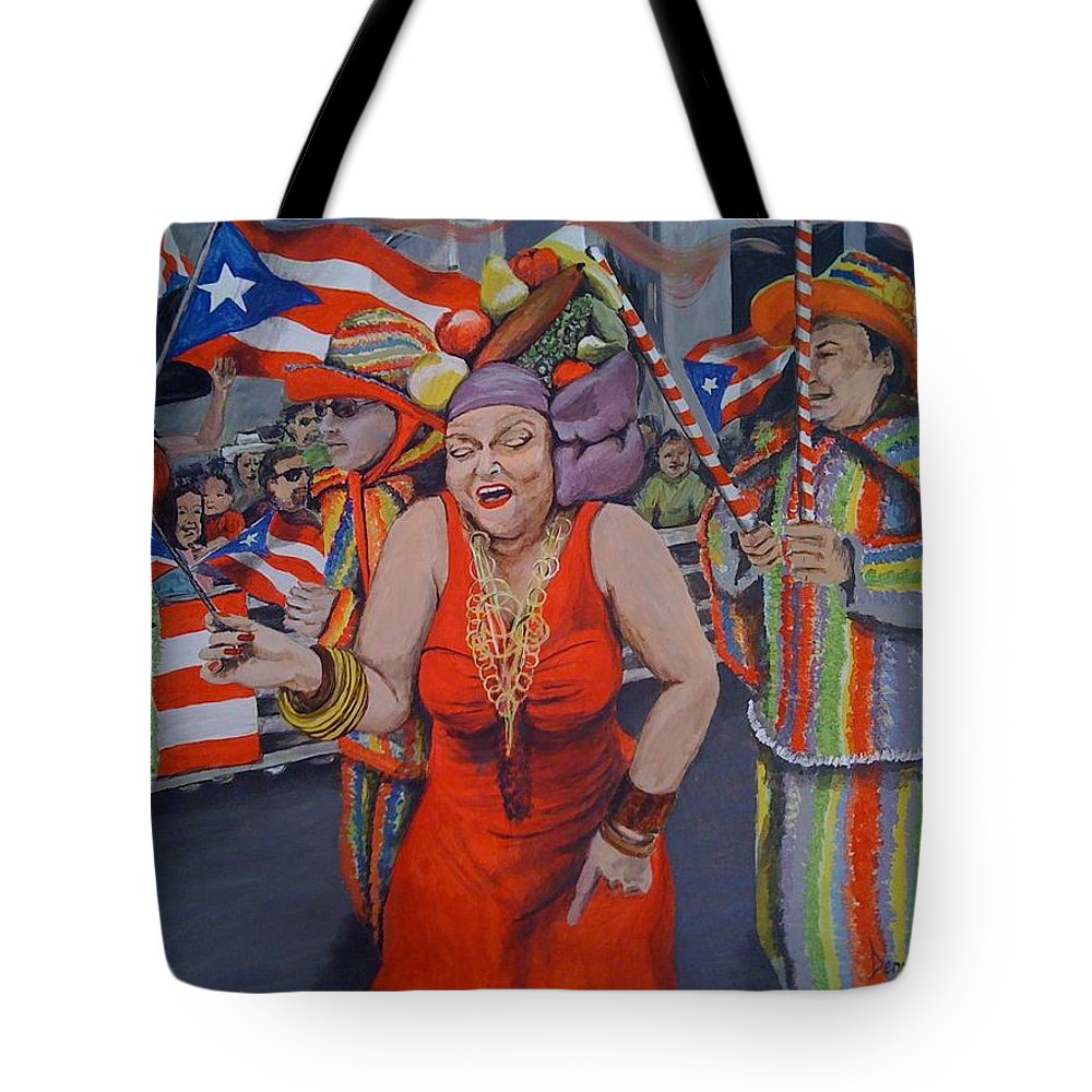 Parade Tote Bag featuring the painting My Puerto Rican Parade by Denniza Colon-Matarelli