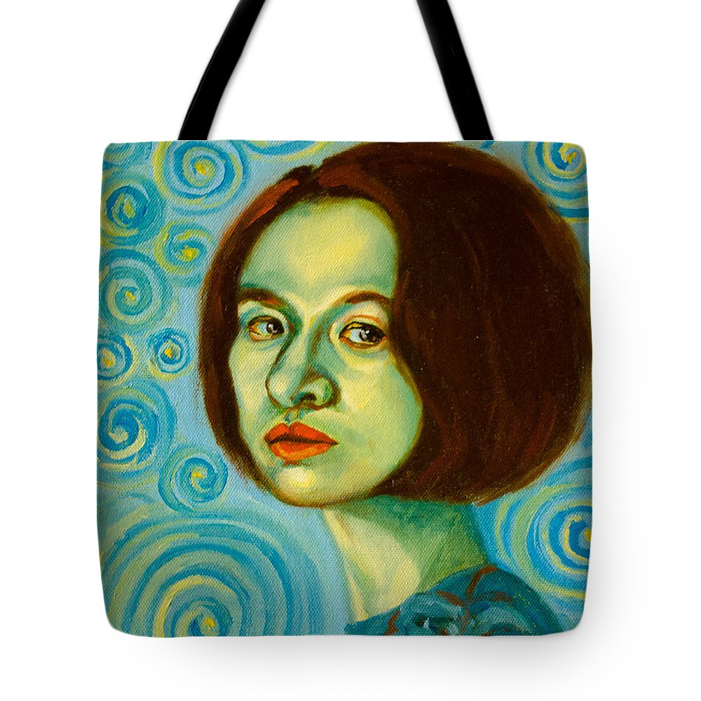 Self Portrait Tote Bag featuring the painting My Sanity by Lucy Chen