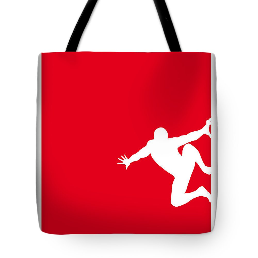 Superheroes Tote Bag featuring the digital art My Superhero 04 Spider Red Minimal Poster by Chungkong Art