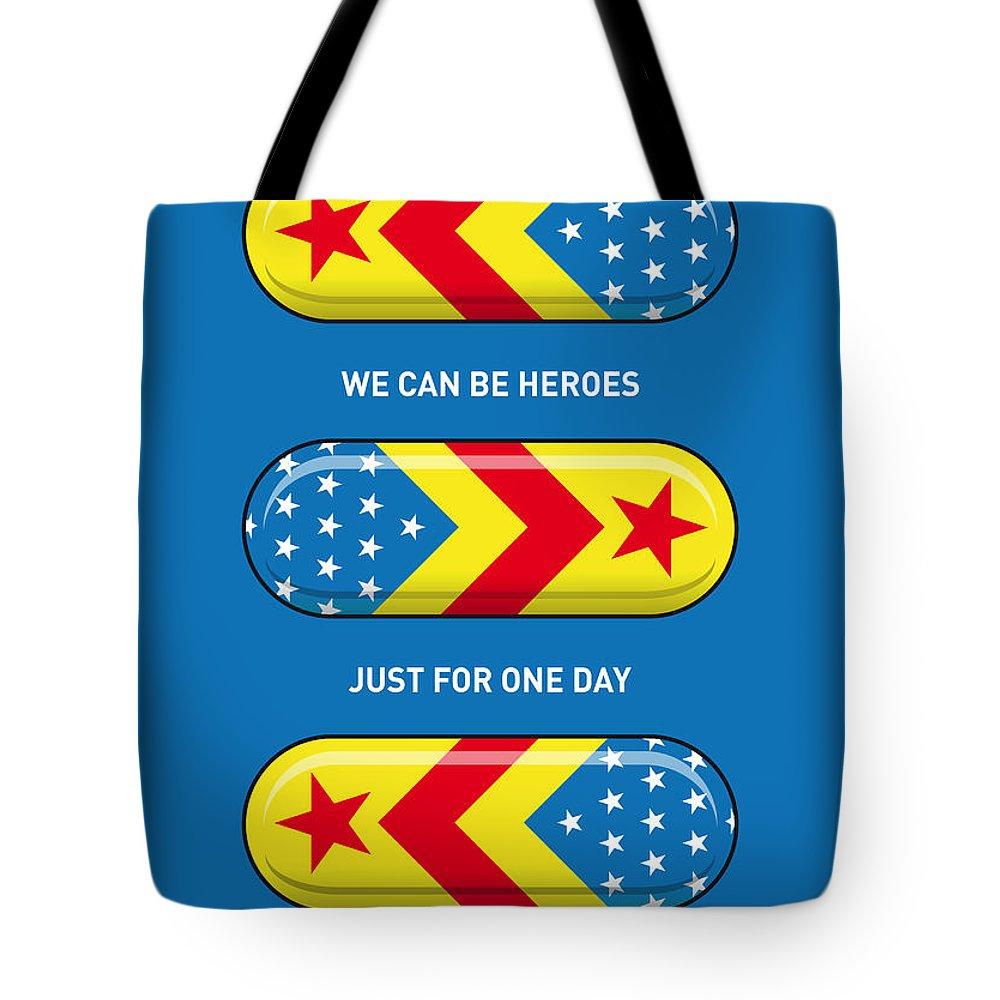 Superheroes Tote Bag featuring the digital art My Superhero Pills - Wonder Woman by Chungkong Art