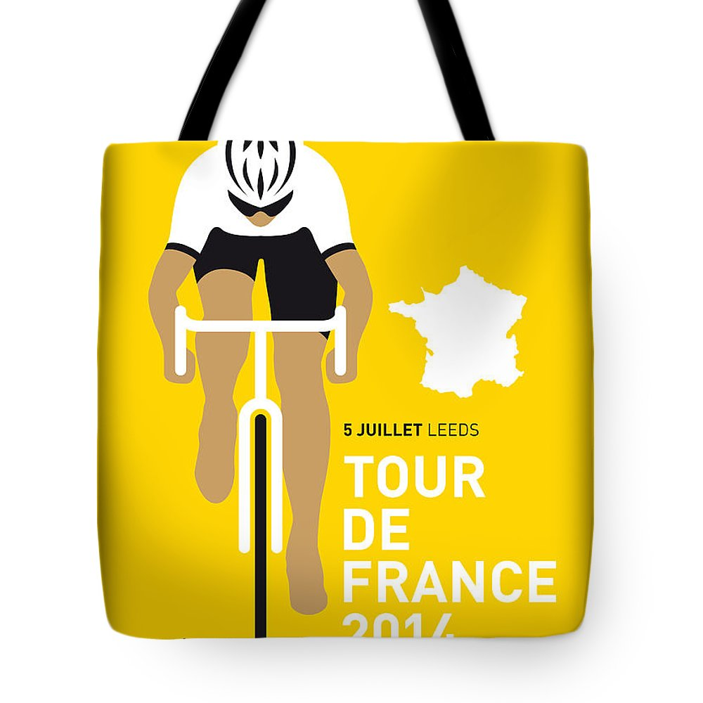 Minimal Tote Bag featuring the digital art My Tour De France Minimal Poster 2014 by Chungkong Art