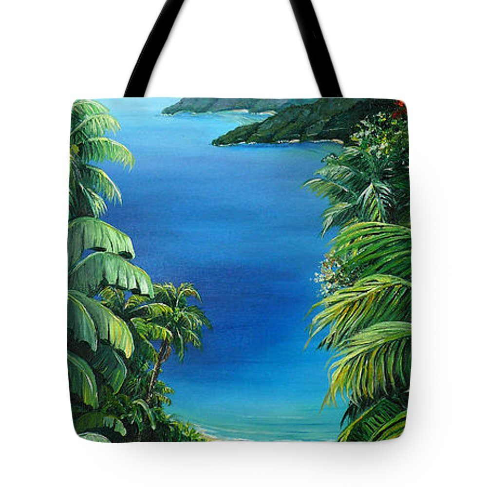 Tropical Painting Caribbean Painting Sea Scape Painting Seaview Painting Flamboyant Painting  Island Painting  Tote Bag featuring the painting My View by Karin Dawn Kelshall- Best