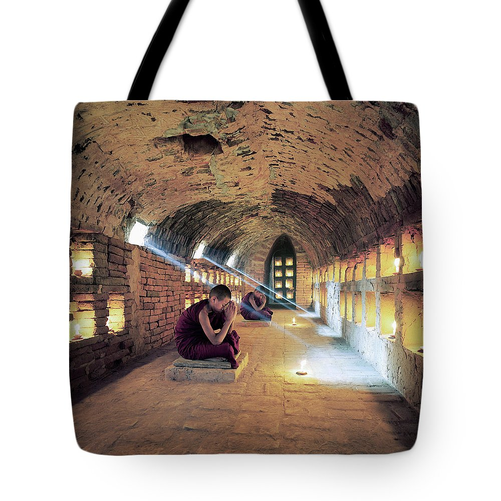 Arch Tote Bag featuring the photograph Myanmar, Buddhist Monks Inside by Martin Puddy