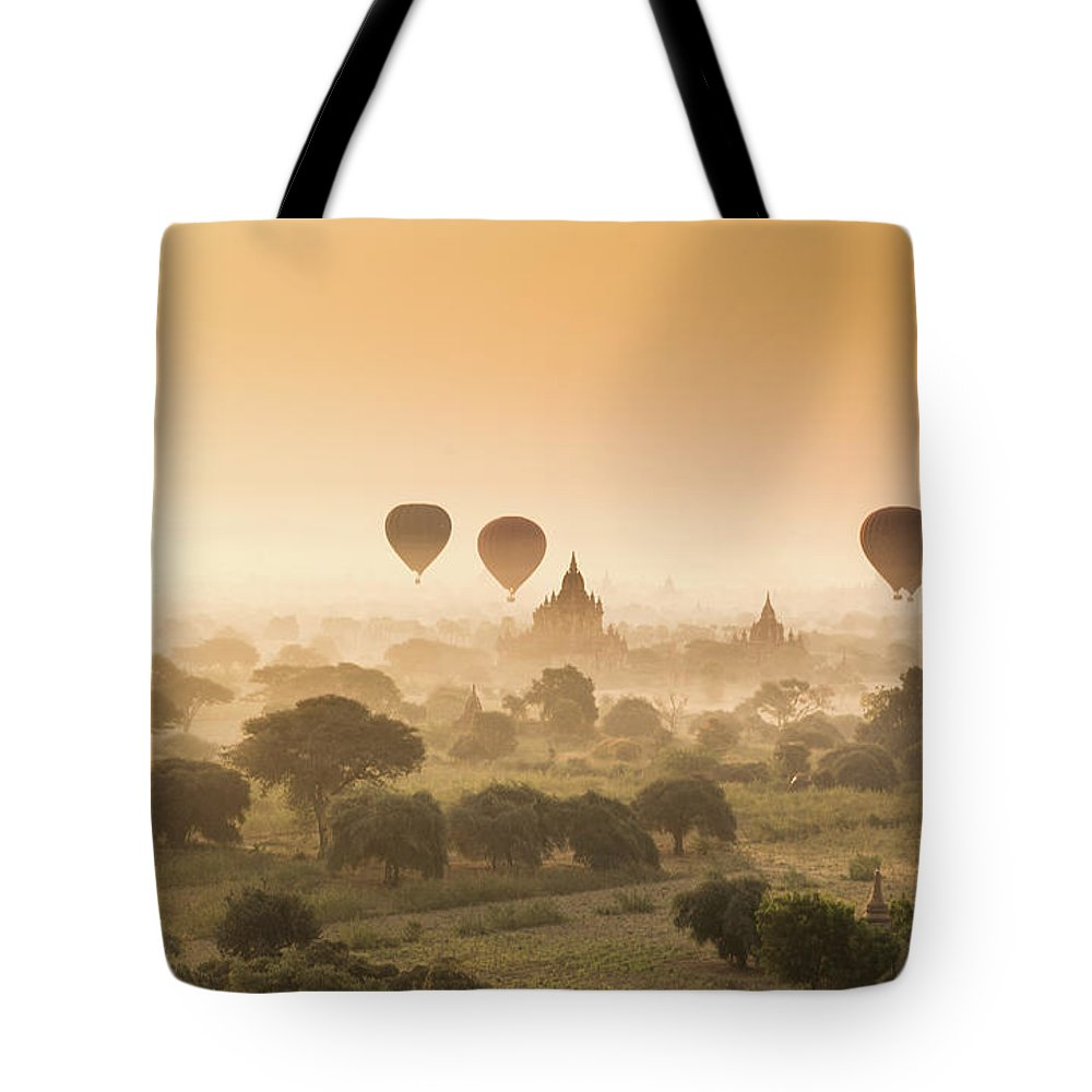 Tranquility Tote Bag featuring the photograph Myanmar Burma - Balloons Flying Over by 117 Imagery