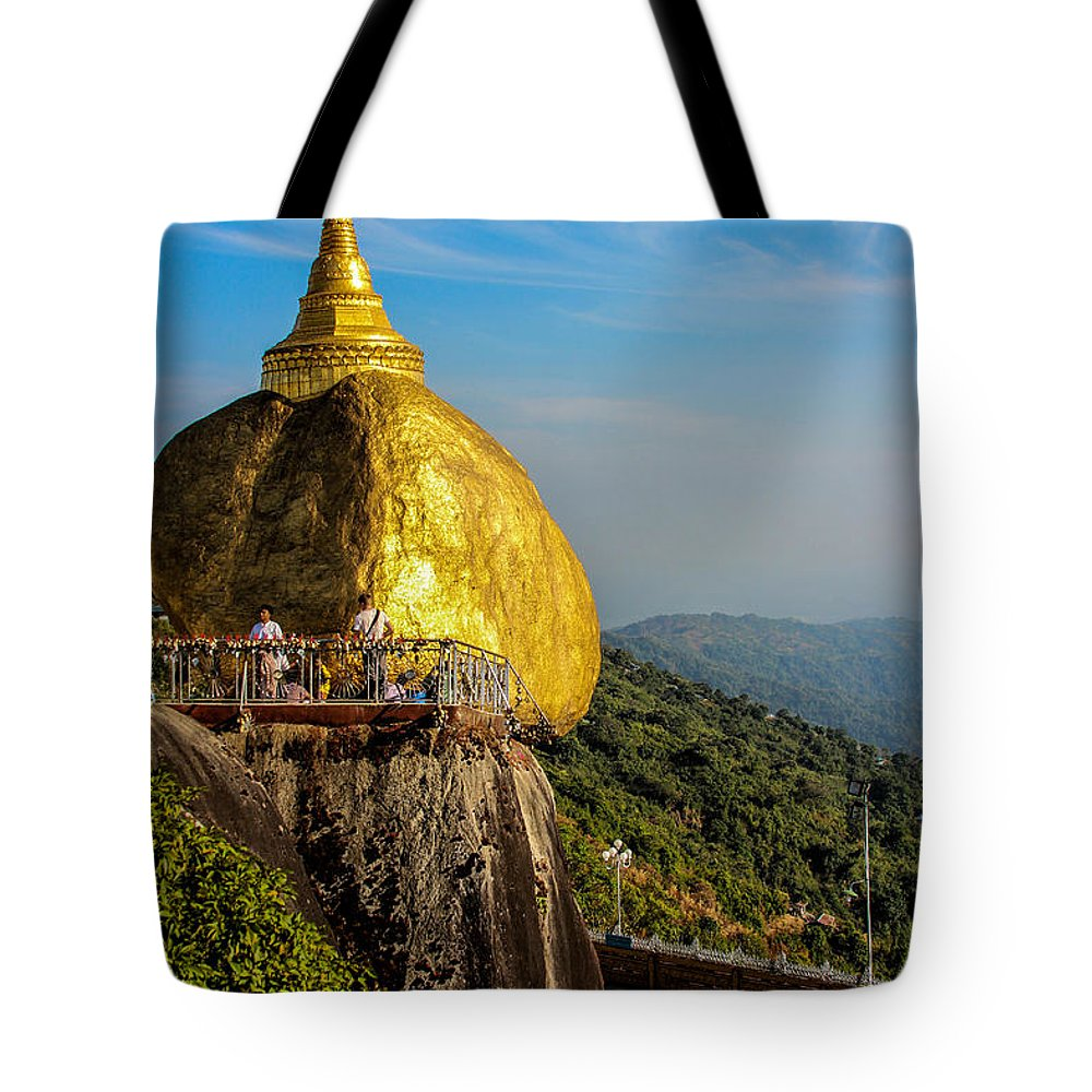 Kyaiktyo Tote Bag featuring the photograph Myanmar's Golden Rock Pagoda by Joshua Van Lare