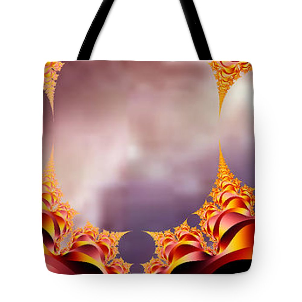 Fractal Art Tote Bag featuring the digital art Mysterious Locations #2 by Elizabeth McTaggart