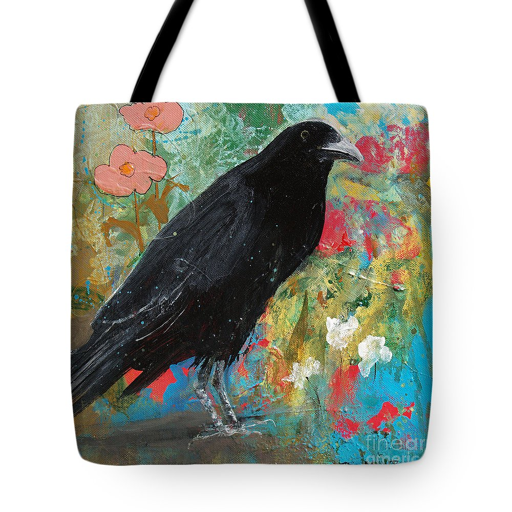 Crow Tote Bag featuring the painting Mystery At Every Turn by Robin Maria Pedrero