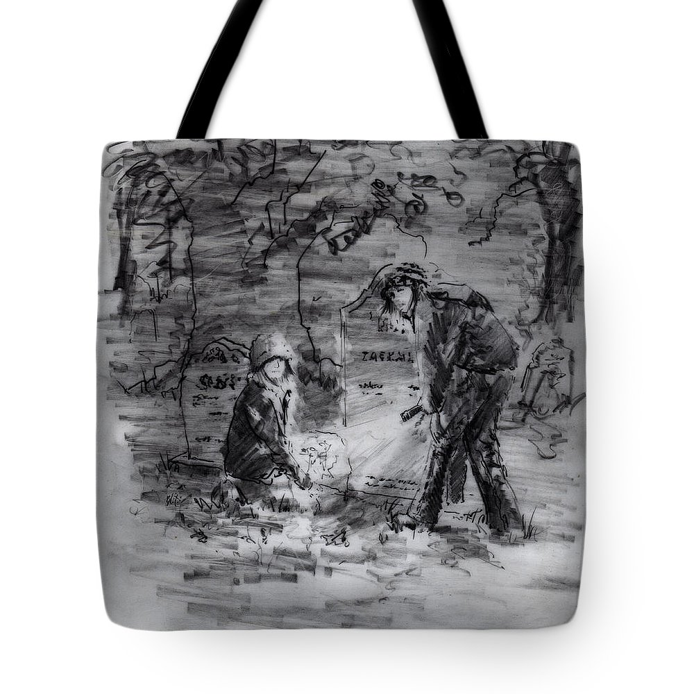 Mystery Tote Bag featuring the drawing Mystery At Memorial Gardens by Rachel Christine Nowicki