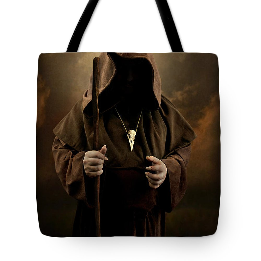 Mystery Man Wearing Cloak With Hood Bird Skull Pendant Holding A Wooden Wizard Staff Tote Bag