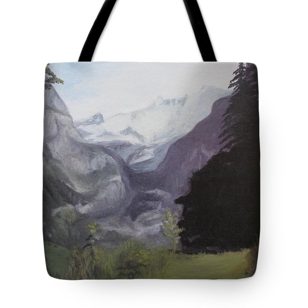 Mystery Mountains Tote Bag featuring the painting Mystery Mountains by Martin Howard