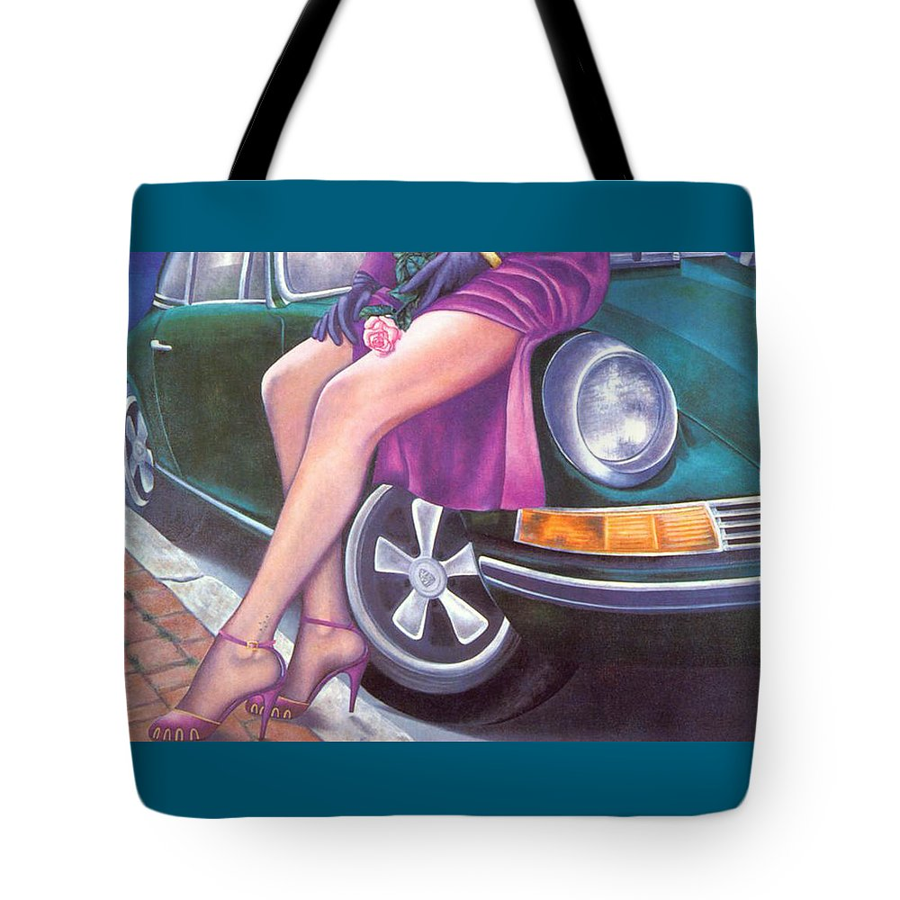 Feminine Tote Bag featuring the painting Mystery On Peter's Porsche by Mary Ann Leitch