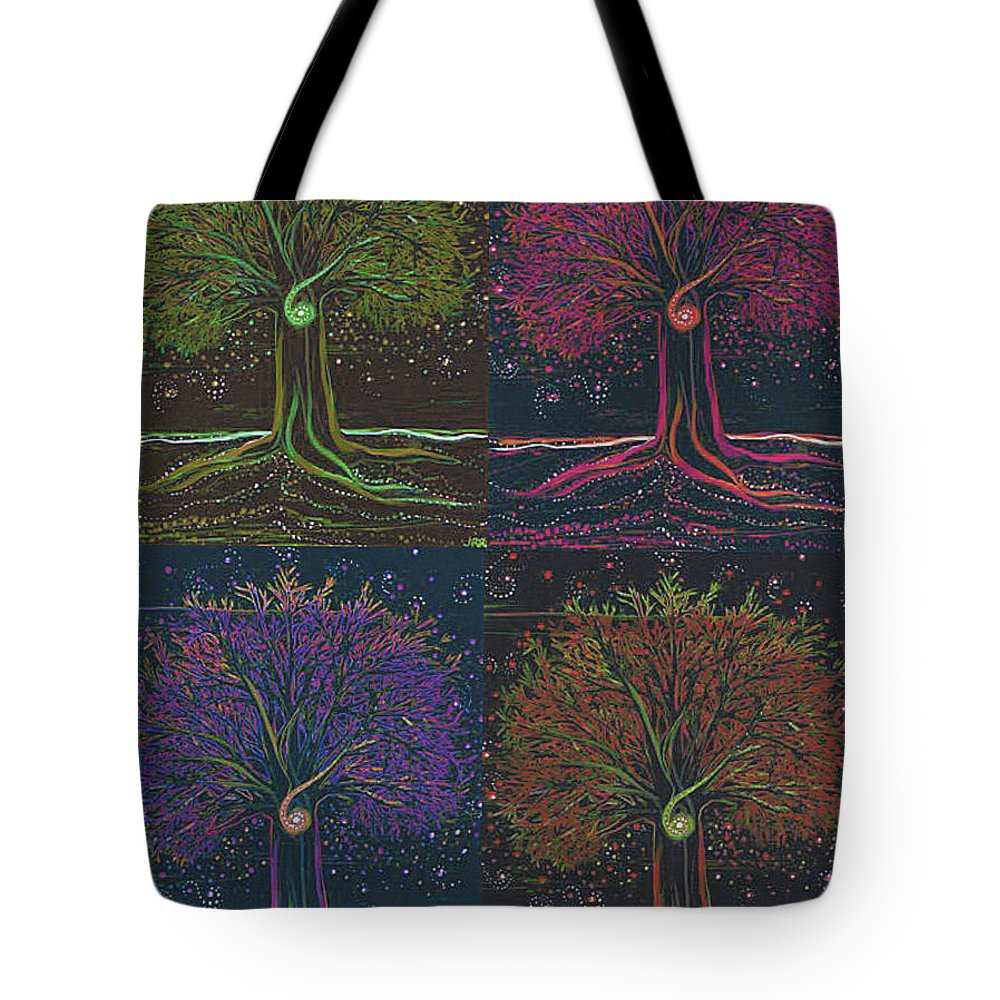 First Star Tote Bag featuring the painting Mystic Spiral Tree X 4 By Jrr by First Star Art