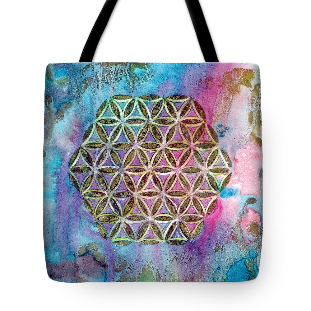 Sacred Geometry Tote Bag featuring the painting Mystical Morning by AnaLisa Rutstein