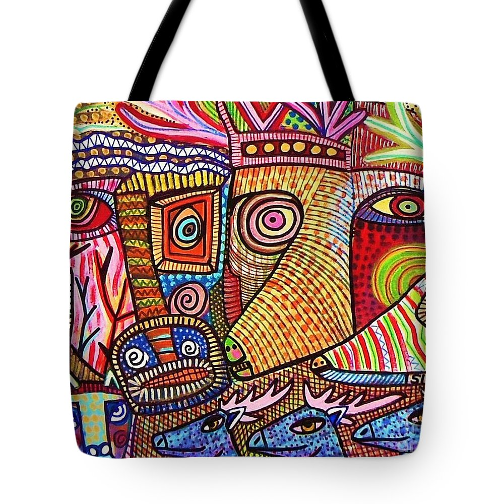 Tote Bag featuring the painting Mythical Zebra Deer Tribe by Sandra Silberzweig