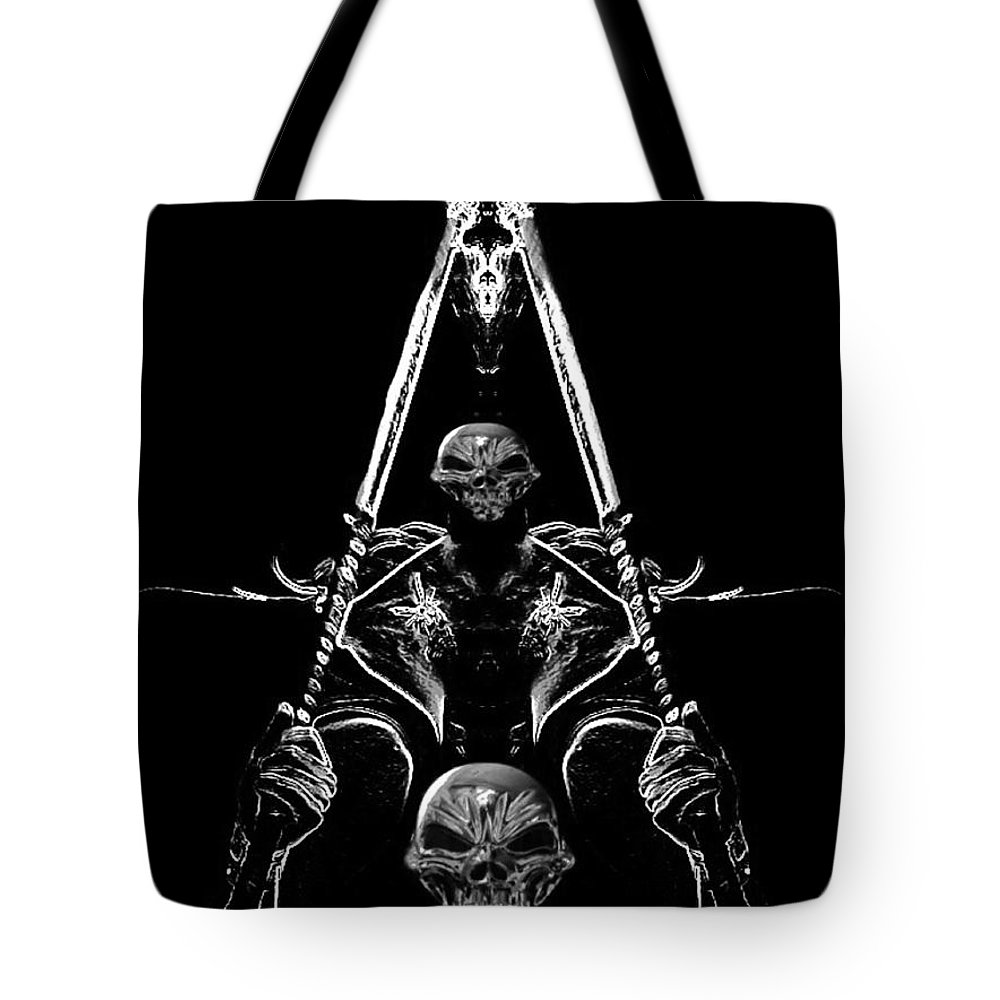 Blair Stuart Tote Bag featuring the digital art Mythology And Skulls 2 by Blair Stuart