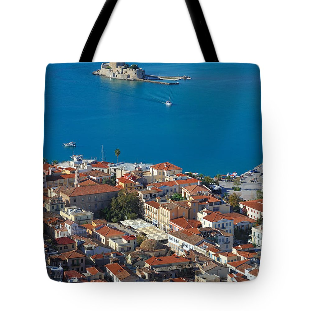 Nafplio Tote Bag featuring the photograph Nafplio And Bourtzi by Grigorios Moraitis