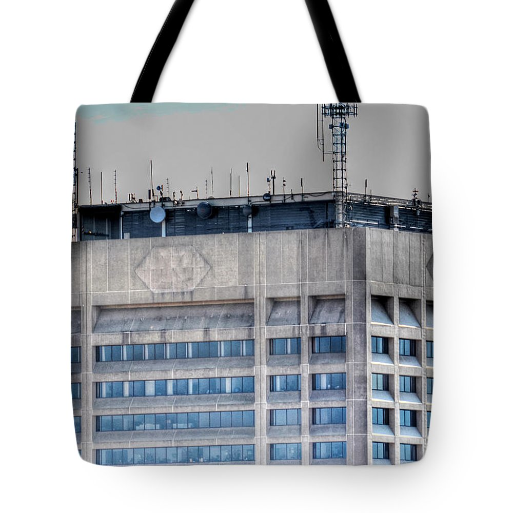 Hsbc Tower Tote Bag featuring the photograph Naked Hsbc Tower V2 by Michael Frank Jr