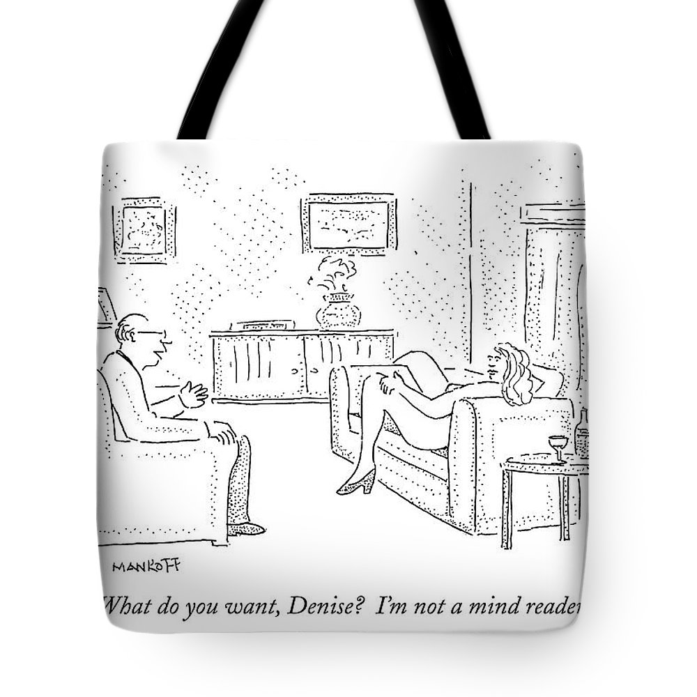 Sex Tote Bag featuring the drawing Naked Woman Lying On Couch With Legs Spread by Robert Mankoff