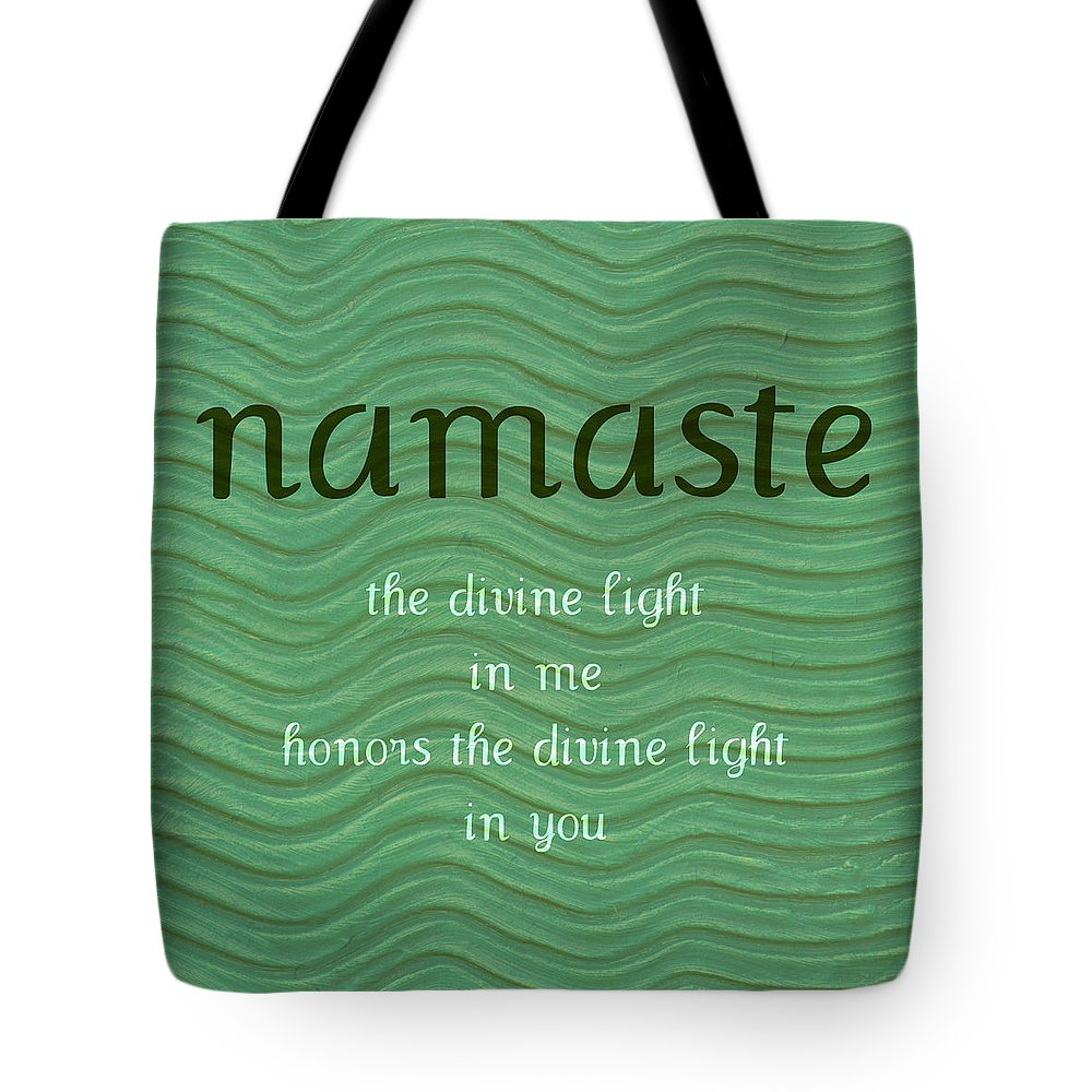 Namaste Tote Bag featuring the painting Namaste With Blue Waves by Michelle Calkins
