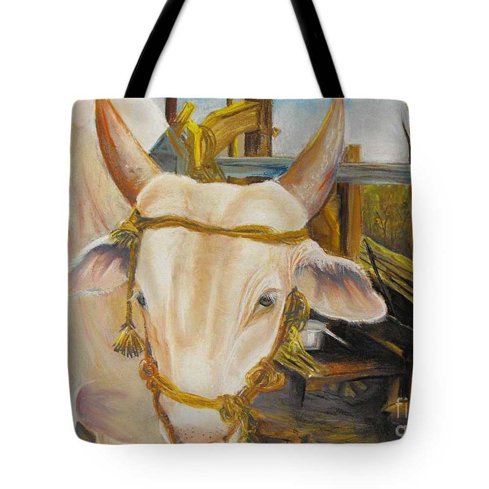 Animal Potrait Tote Bag featuring the pastel Nandi by Soma Mandal Datta