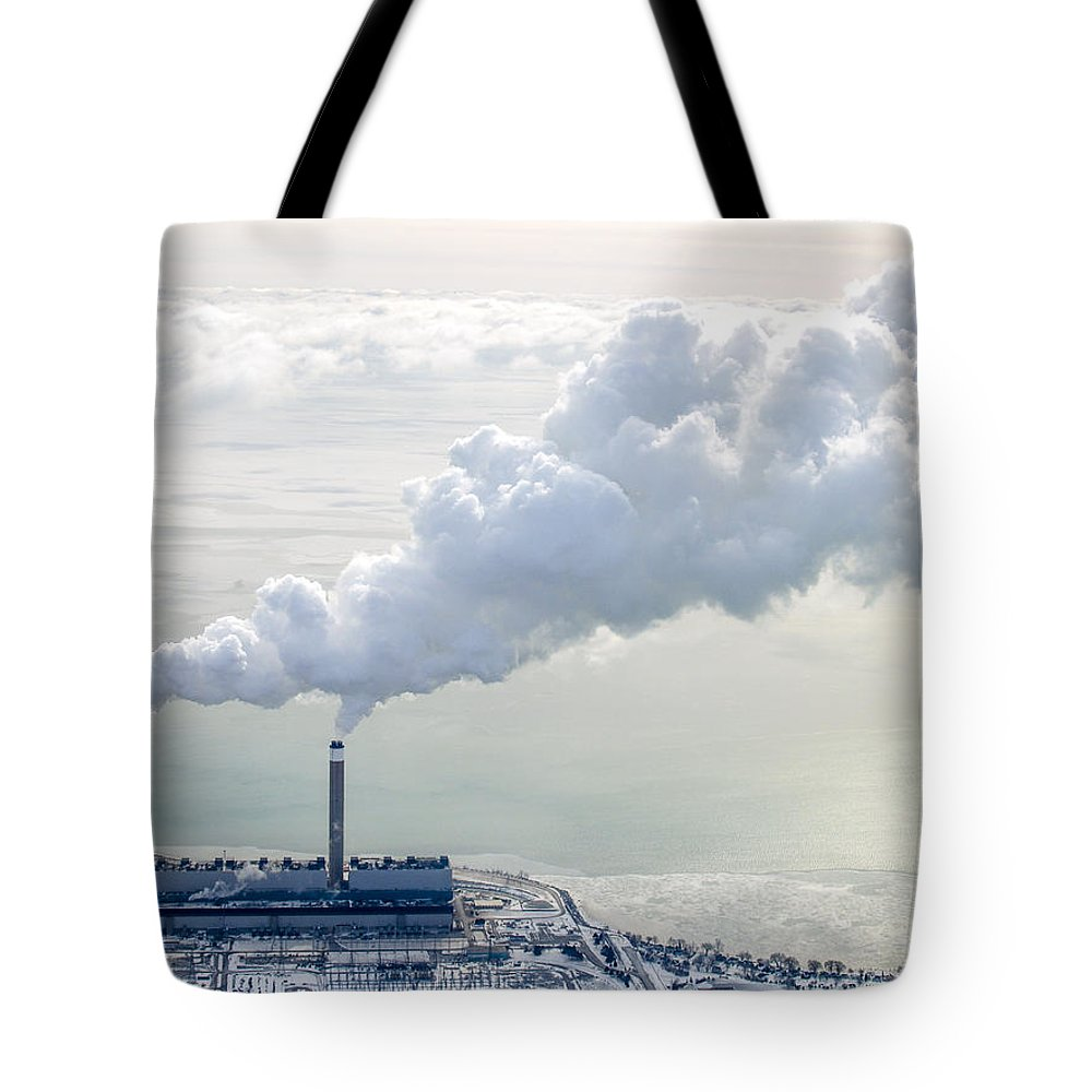 Aerial Tote Bag featuring the photograph Nanticoke At Work. by Urbanmoon Photography