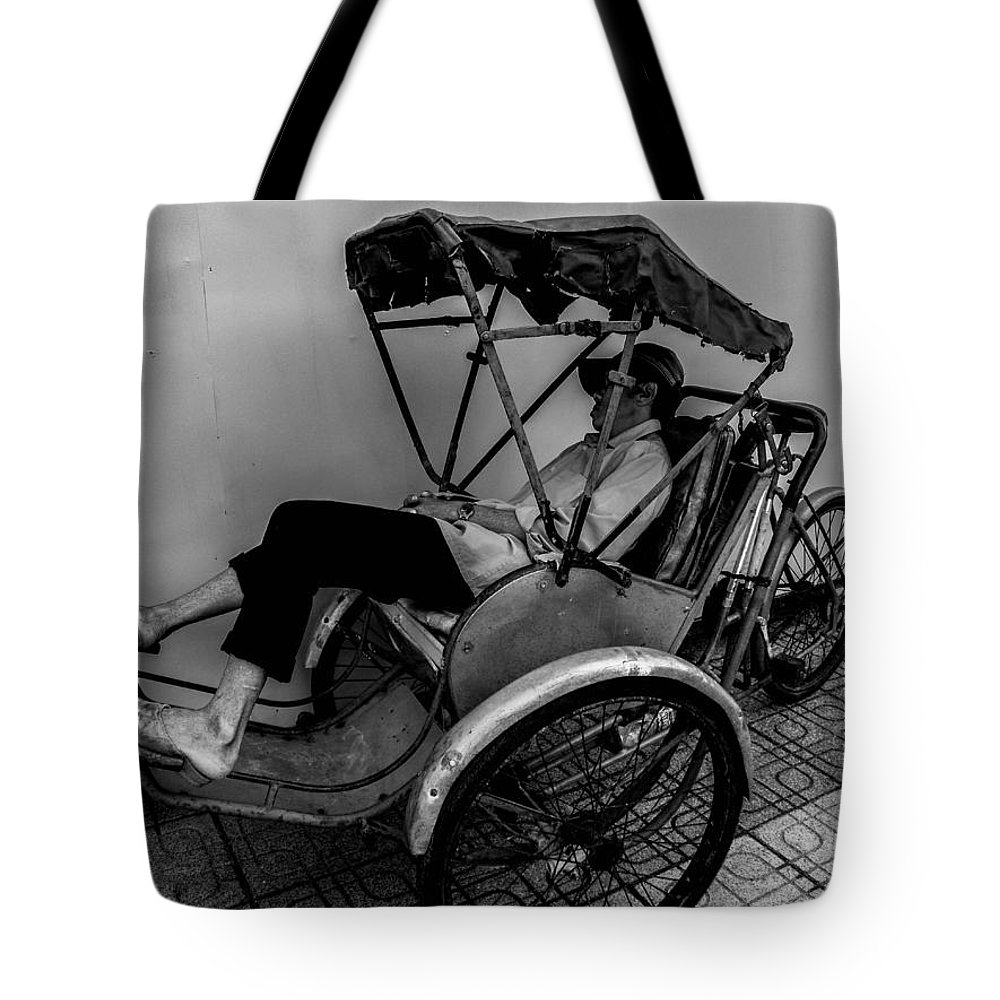 Vietnam Tote Bag featuring the photograph Nap Time For Vietnamese Rickshaw Driver by Joshua Van Lare