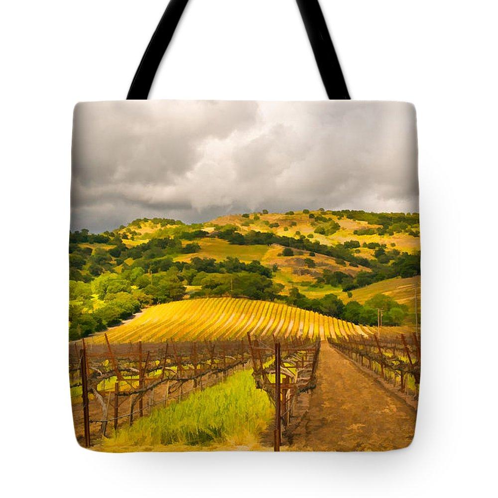 Napa Valley Tote Bag featuring the digital art Napa Vineyard by Mick Burkey