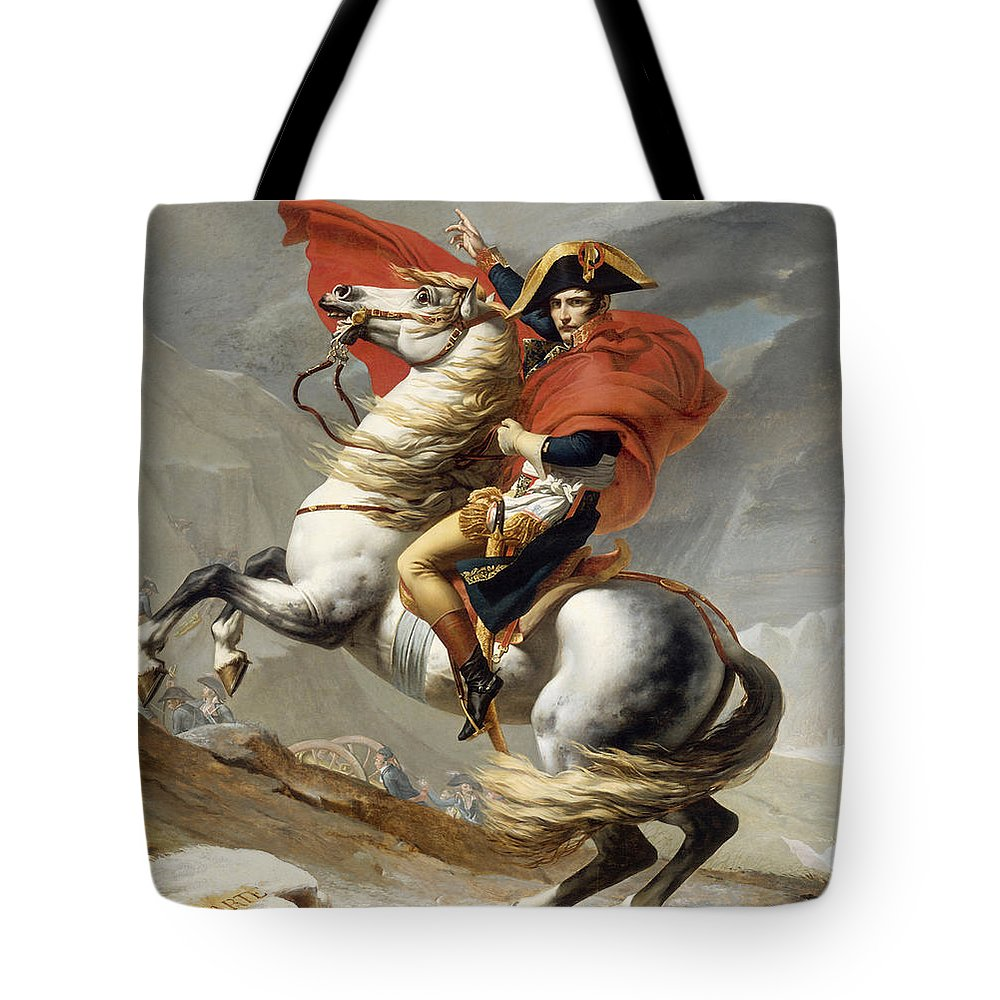 Napoleon Tote Bag featuring the painting Napoleon Bonaparte On Horseback by War Is Hell Store