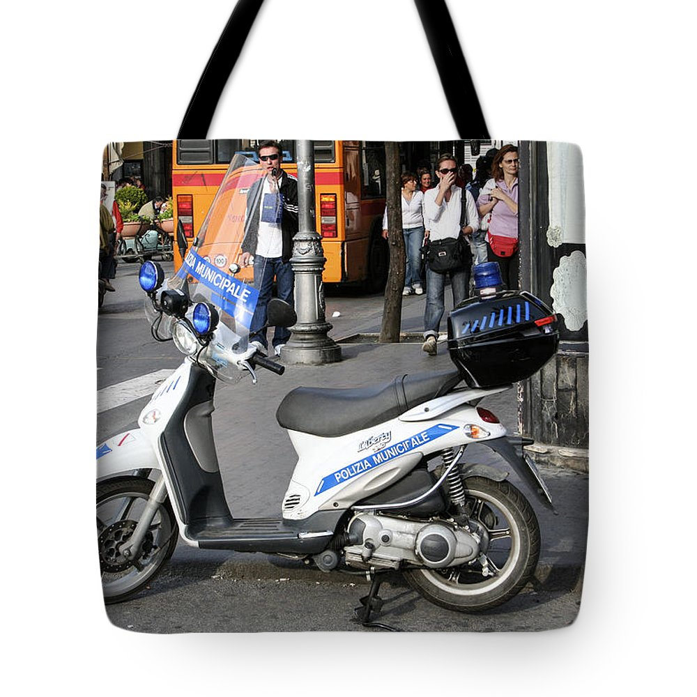 Amalfi Coast Tote Bag featuring the photograph Napoli Police Scooter by Sonny Marcyan