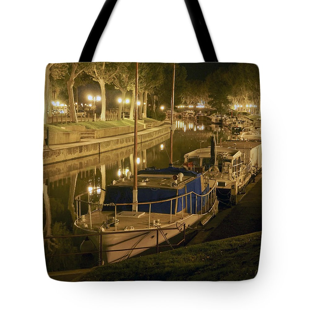 Narbonne Tote Bag featuring the photograph Narbonne France Canal De La Robine At Night Dsc01657 by Greg Kluempers