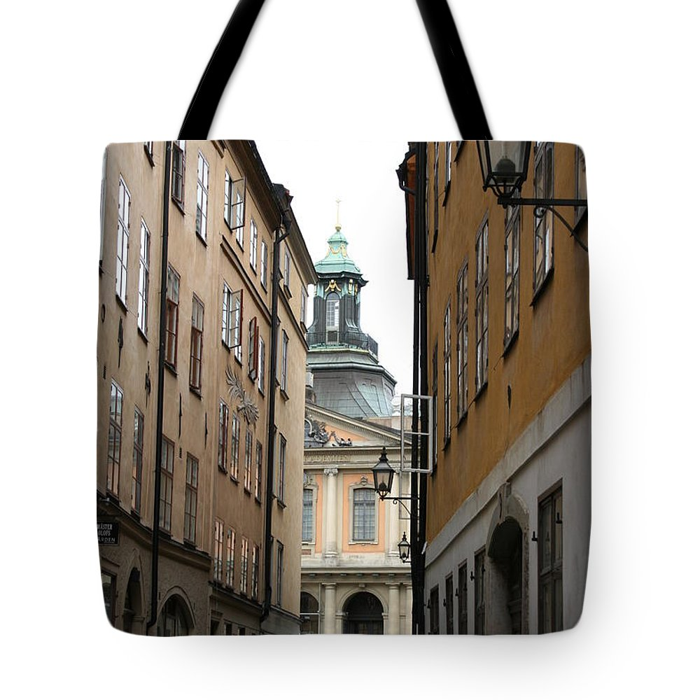 Road Tote Bag featuring the photograph Narrow Road Stockholm by Christiane Schulze Art And Photography