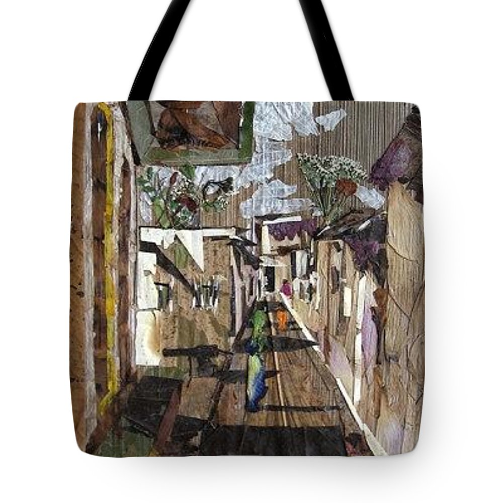Street Scene Tote Bag featuring the mixed media Narrow Street by Basant Soni