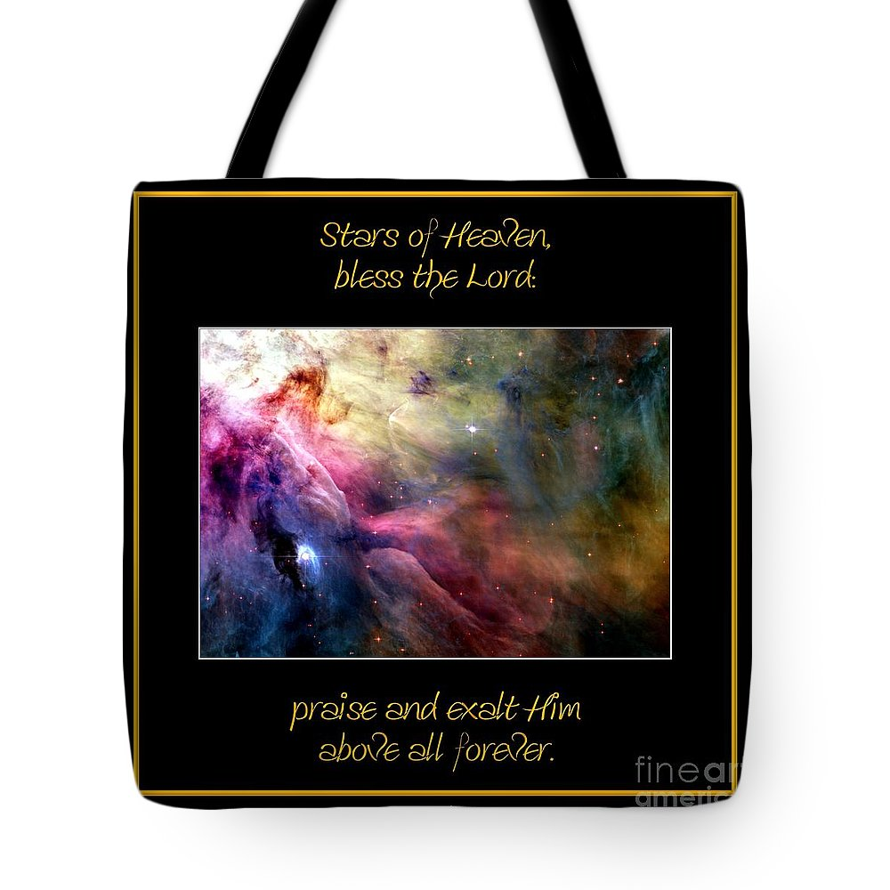 Nasa Tote Bag featuring the photograph Nasa Ll Ori And The Orion Nebula Stars Of Heaven Bless The Lord by Rose Santuci-Sofranko