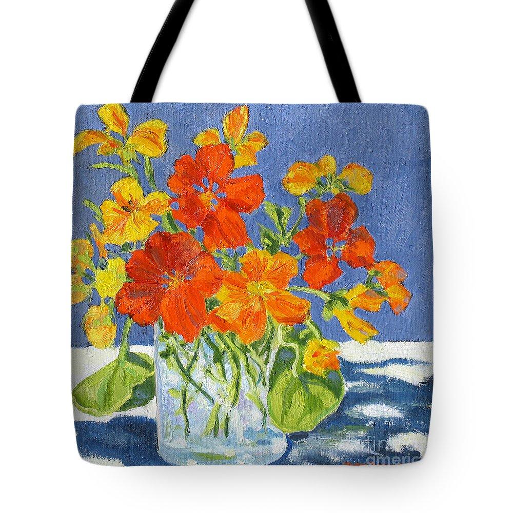 Flowers Tote Bag featuring the painting Nasturtiums by Rhett Regina Owings