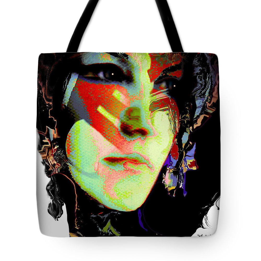 Portrait Tote Bag featuring the mixed media Nat 8 by Natalie Holland