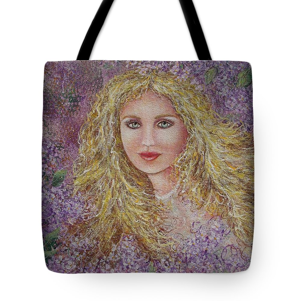 Portrait Tote Bag featuring the painting Natalie In Lilacs by Natalie Holland