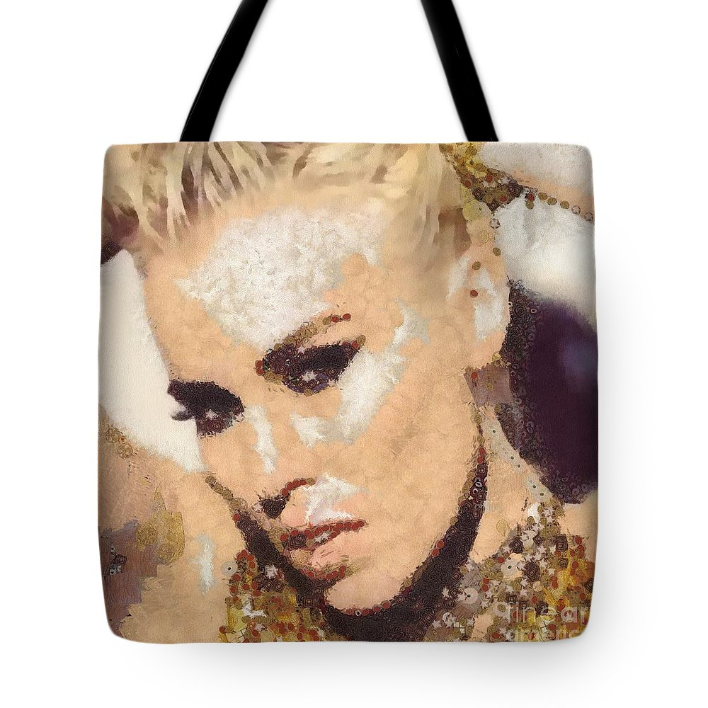 Natasha Bedingfield Tote Bag featuring the painting Natasha Bedingfield-bam by Catherine Lott