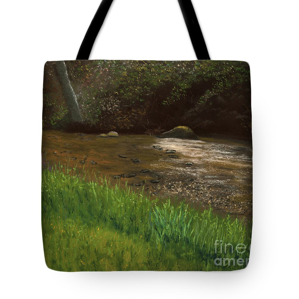 Landscape Tote Bag featuring the painting Natasha's Creek by Ginny Neece