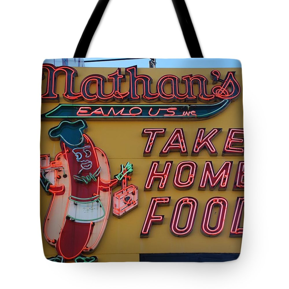 Brooklyn Tote Bag featuring the photograph Nathan's Famous by Rob Hans