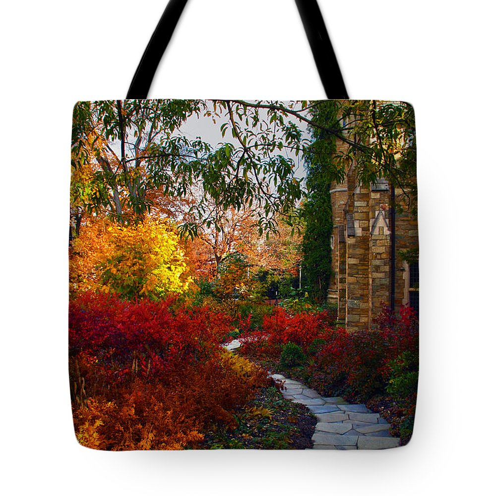 National Cathedral Tote Bag featuring the photograph National Cathedral Path by Mitch Cat