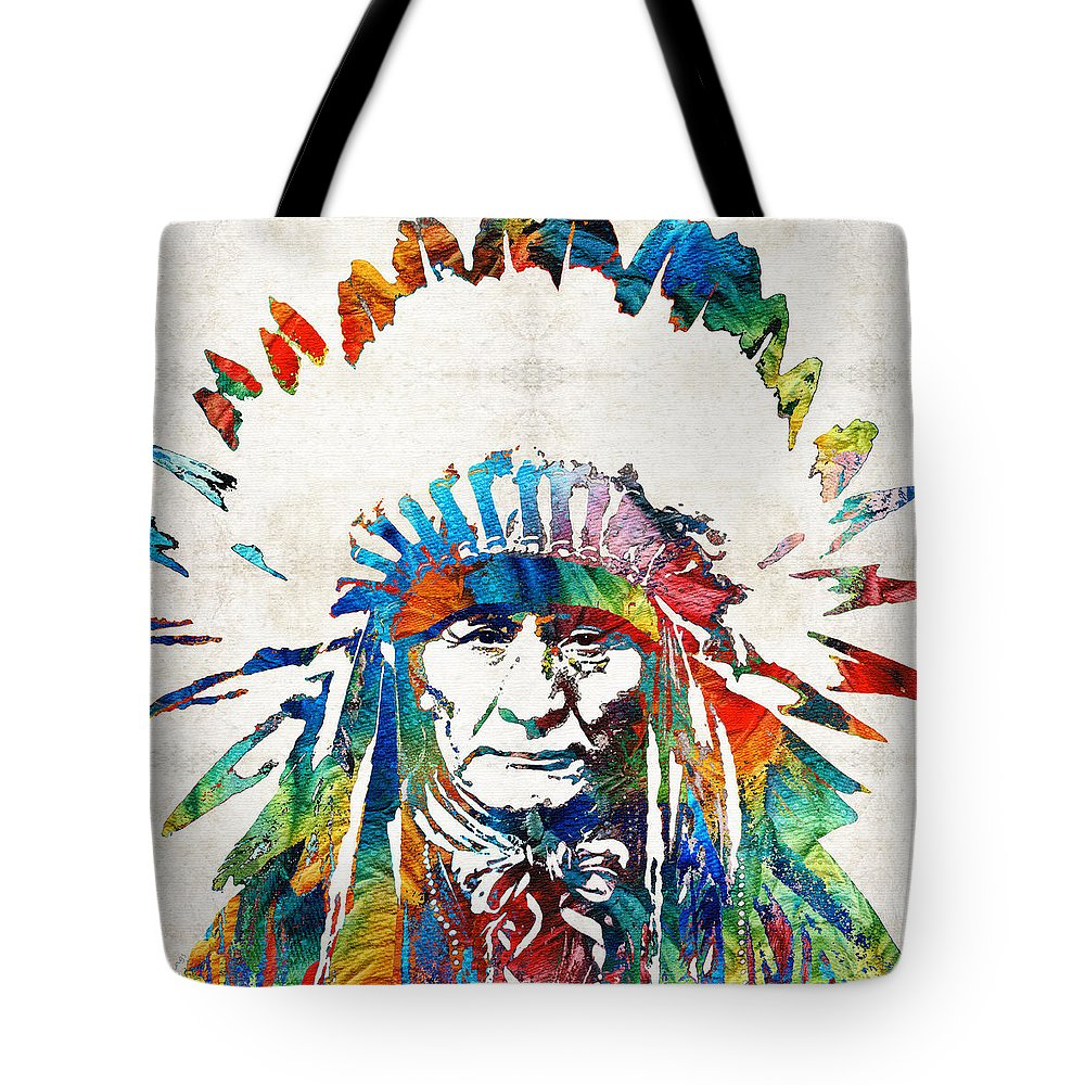 Native American Tote Bag featuring the painting Native American Art - Chief - By Sharon Cummings by Sharon Cummings