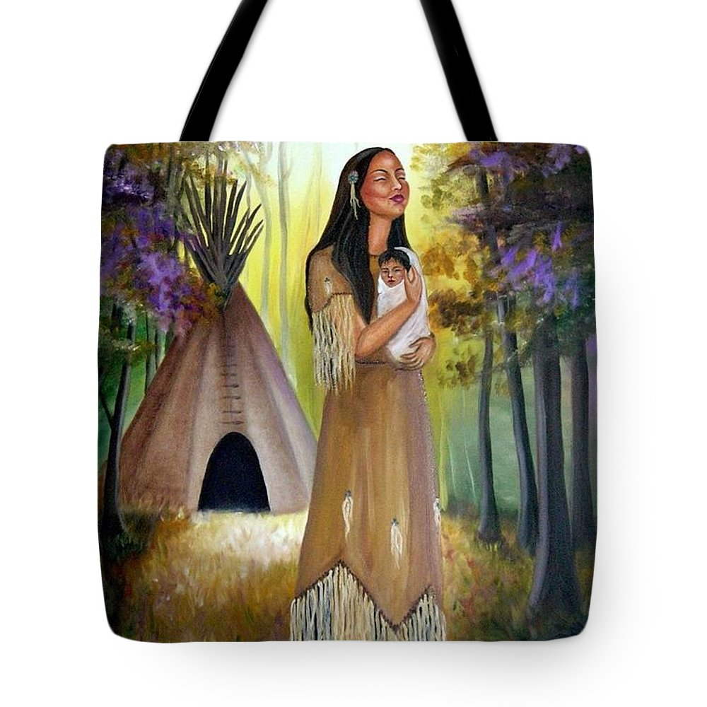 Native American Tote Bag featuring the painting Native American Mother and Child by Lora Duguay