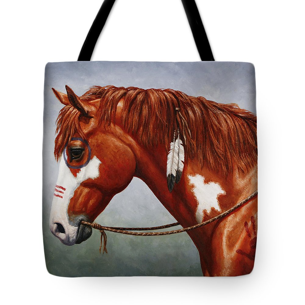 Horse Tote Bag featuring the painting Native American War Horse by Crista Forest