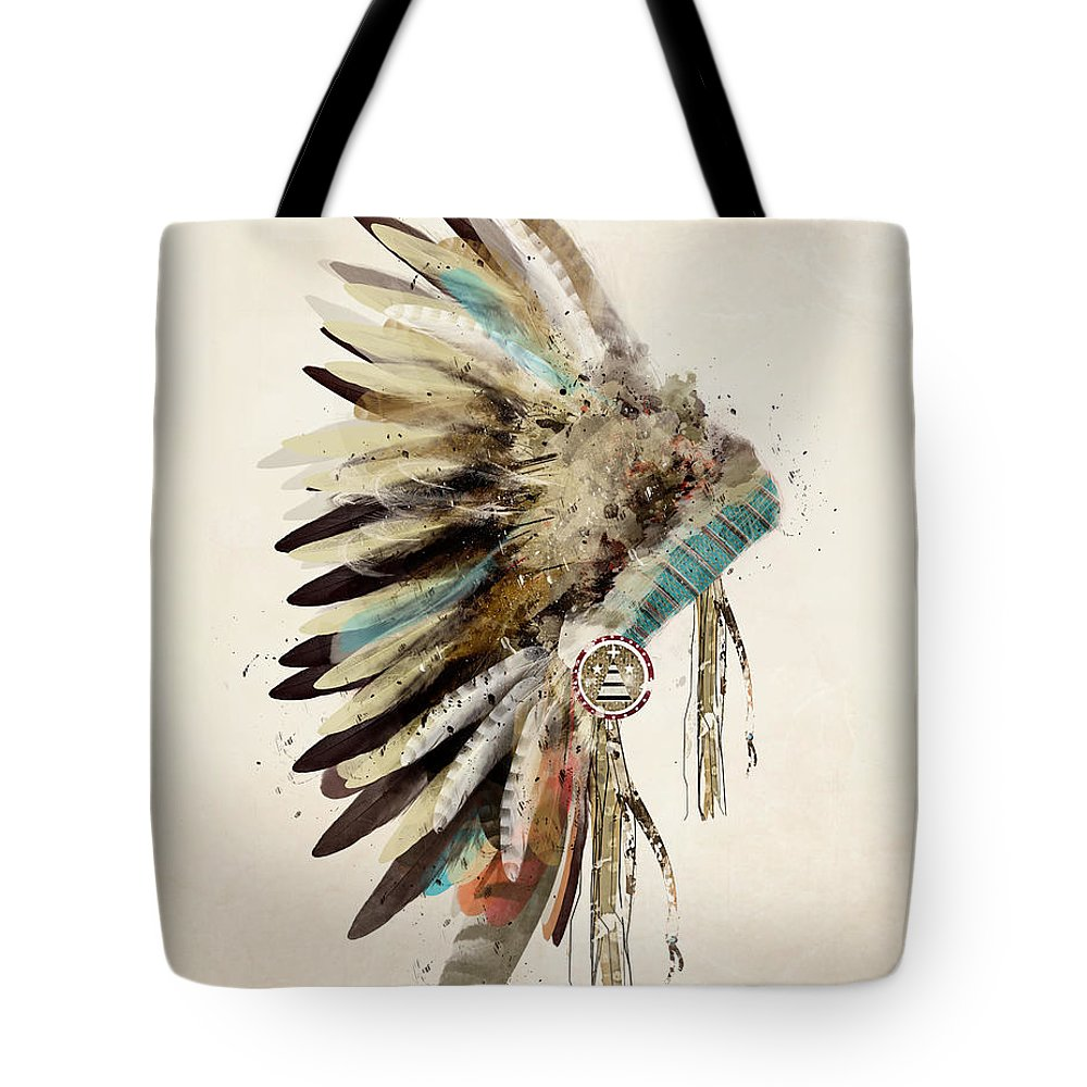 Native Headdress Tote Bag featuring the painting Native Headdress by Bri Buckley