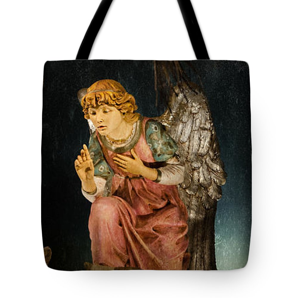 Angel Tote Bag featuring the photograph Nativity Angel by Susan McMenamin