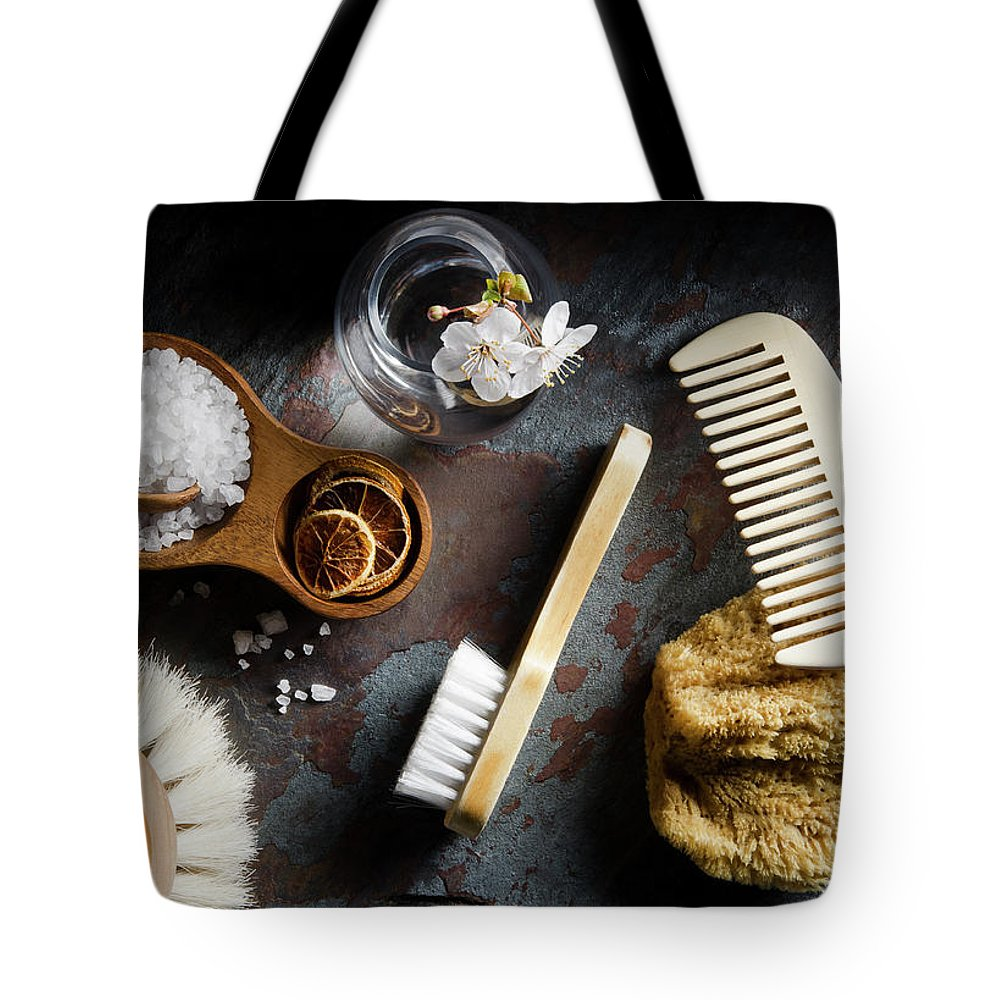 Comb Tote Bag featuring the photograph Natural Bath Accesories On Gray by Nightanddayimages