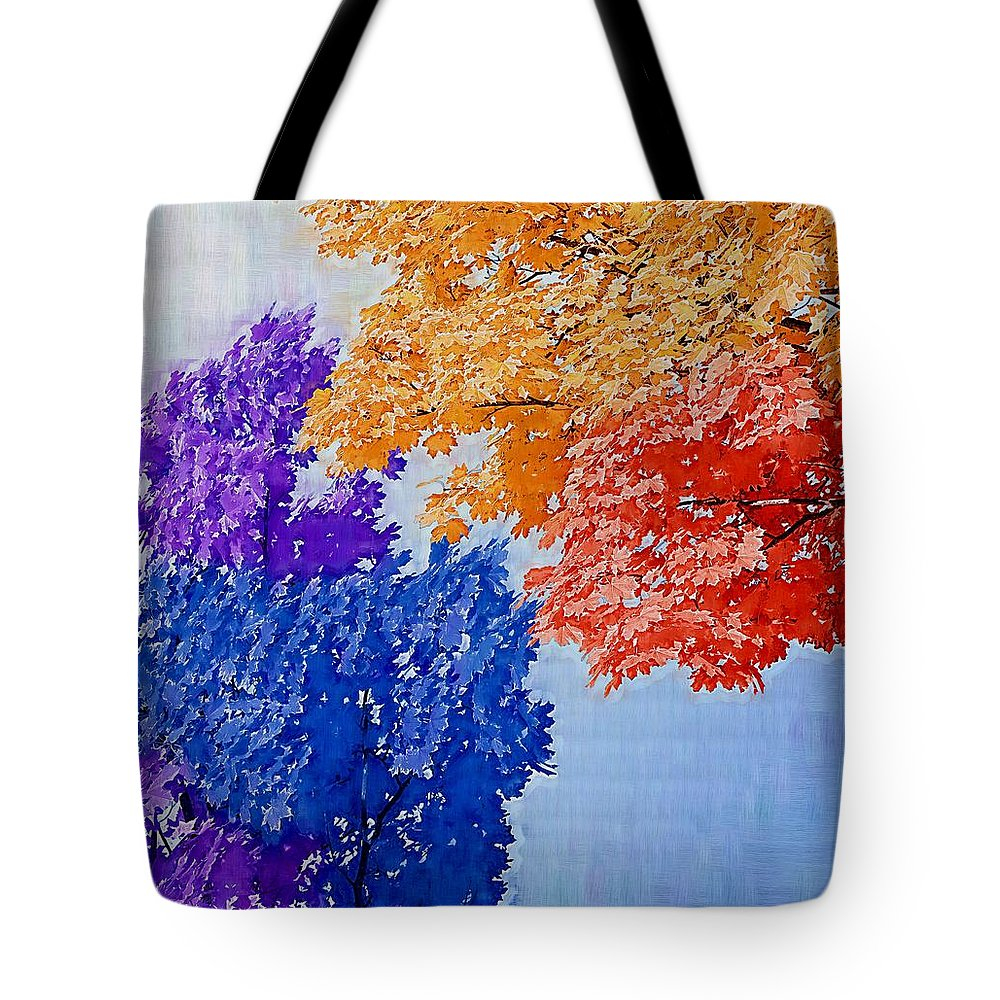 Tree Tote Bag featuring the mixed media Nature In Its New Colors by Pepita Selles