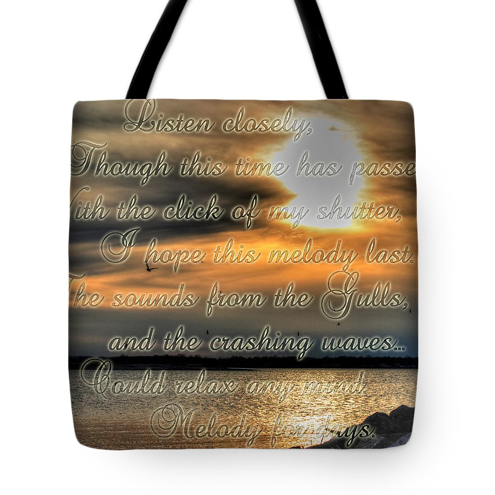 Gulls Tote Bag featuring the photograph Natures Melody With Text by Michael Frank Jr